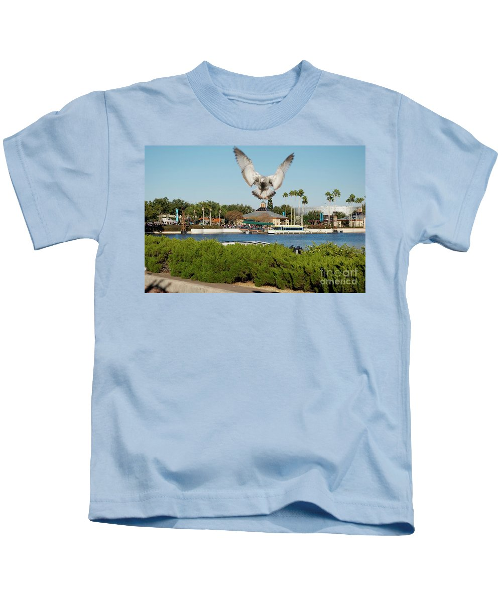 Animals Kids T-Shirt featuring the photograph Sea Gull With Full Flaps by Thomas Woolworth