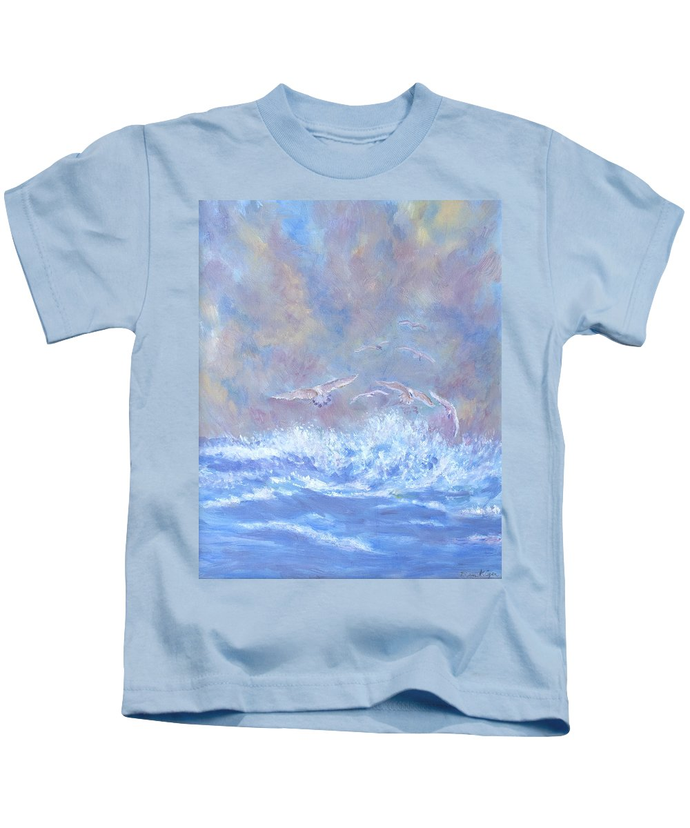 Seascape Kids T-Shirt featuring the painting Seagulls at Play by Ben Kiger