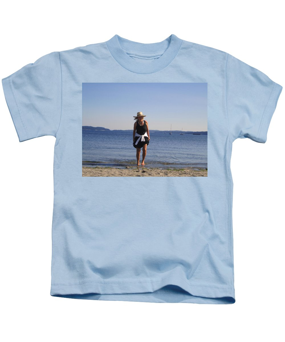 Lady Kids T-Shirt featuring the photograph She Loves The Beach by Kym Backland