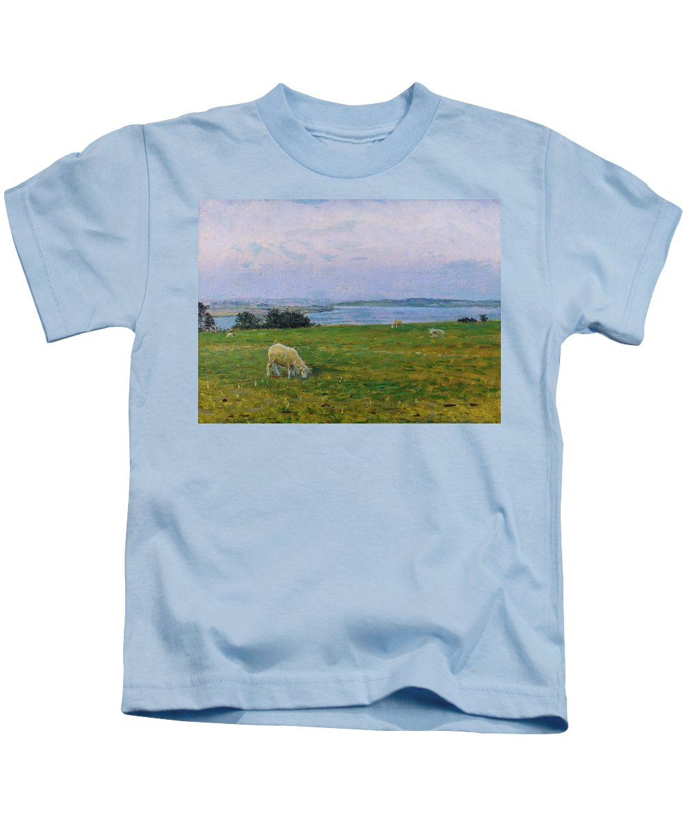 Sheep Kids T-Shirt featuring the painting Sheep Grazing by Viggo Johansen