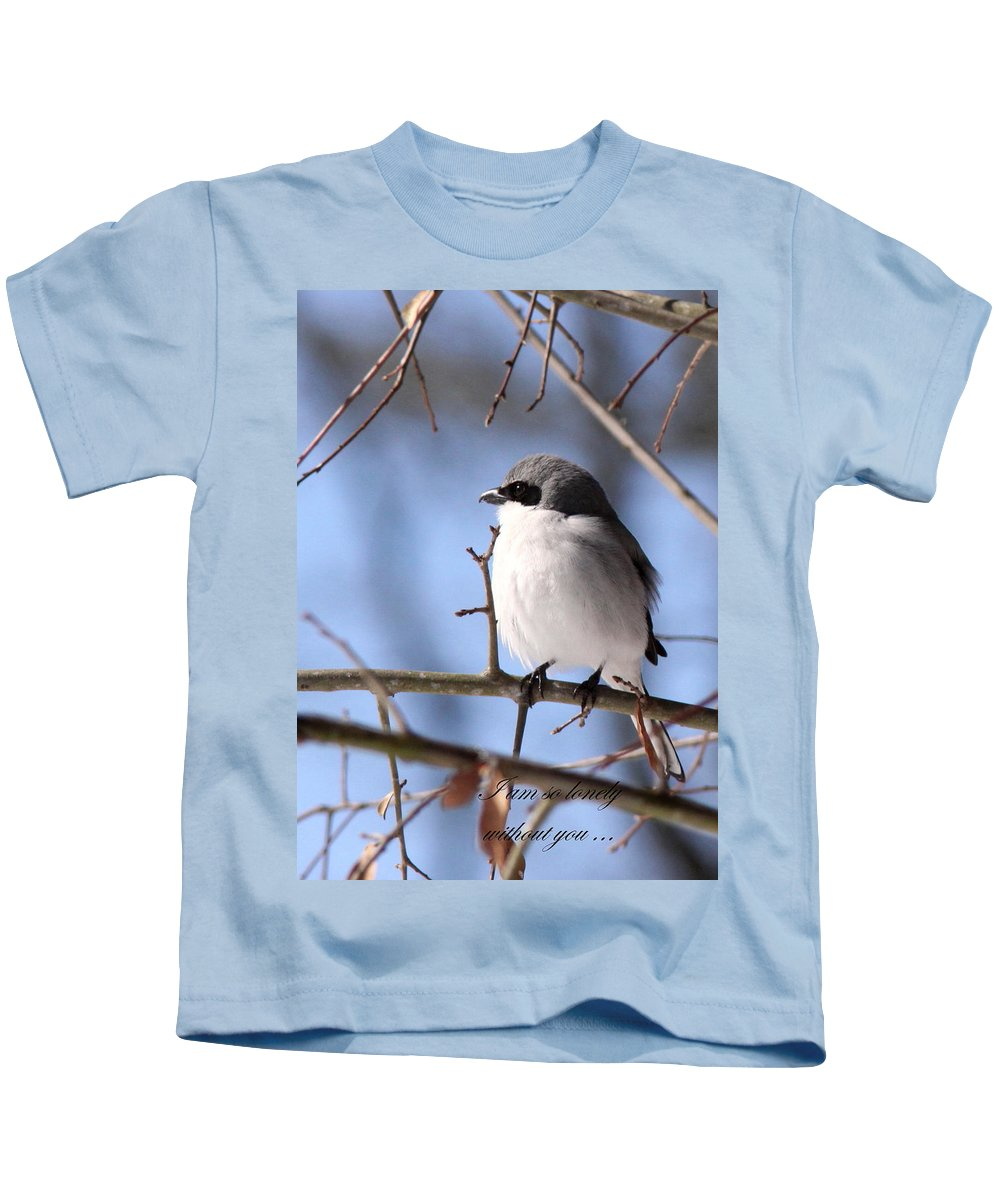 Shrike Kids T-Shirt featuring the photograph Shrike - Lonely - Missing You by Travis Truelove