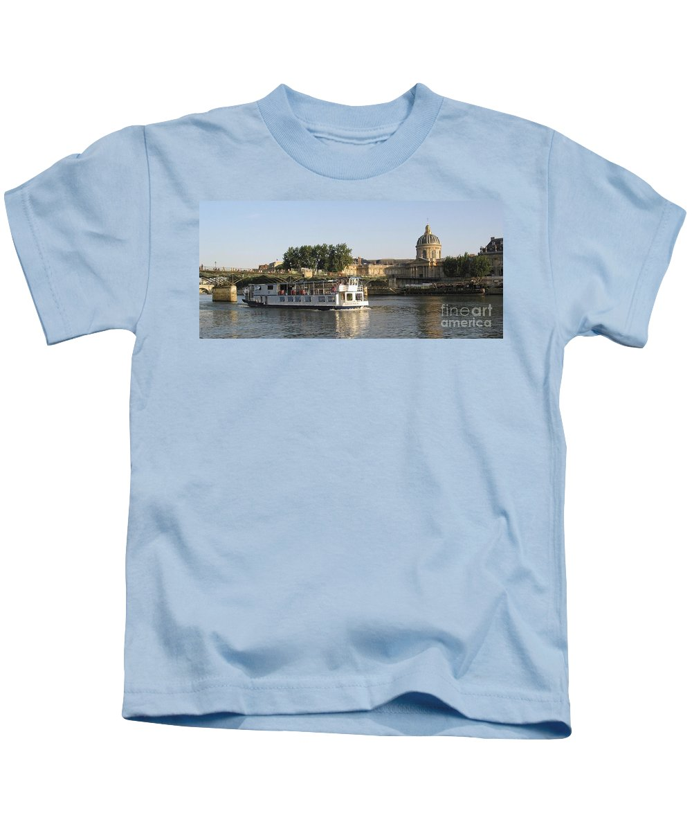 France Kids T-Shirt featuring the photograph Sightseeing Boat On River Seine. Paris by Bernard Jaubert