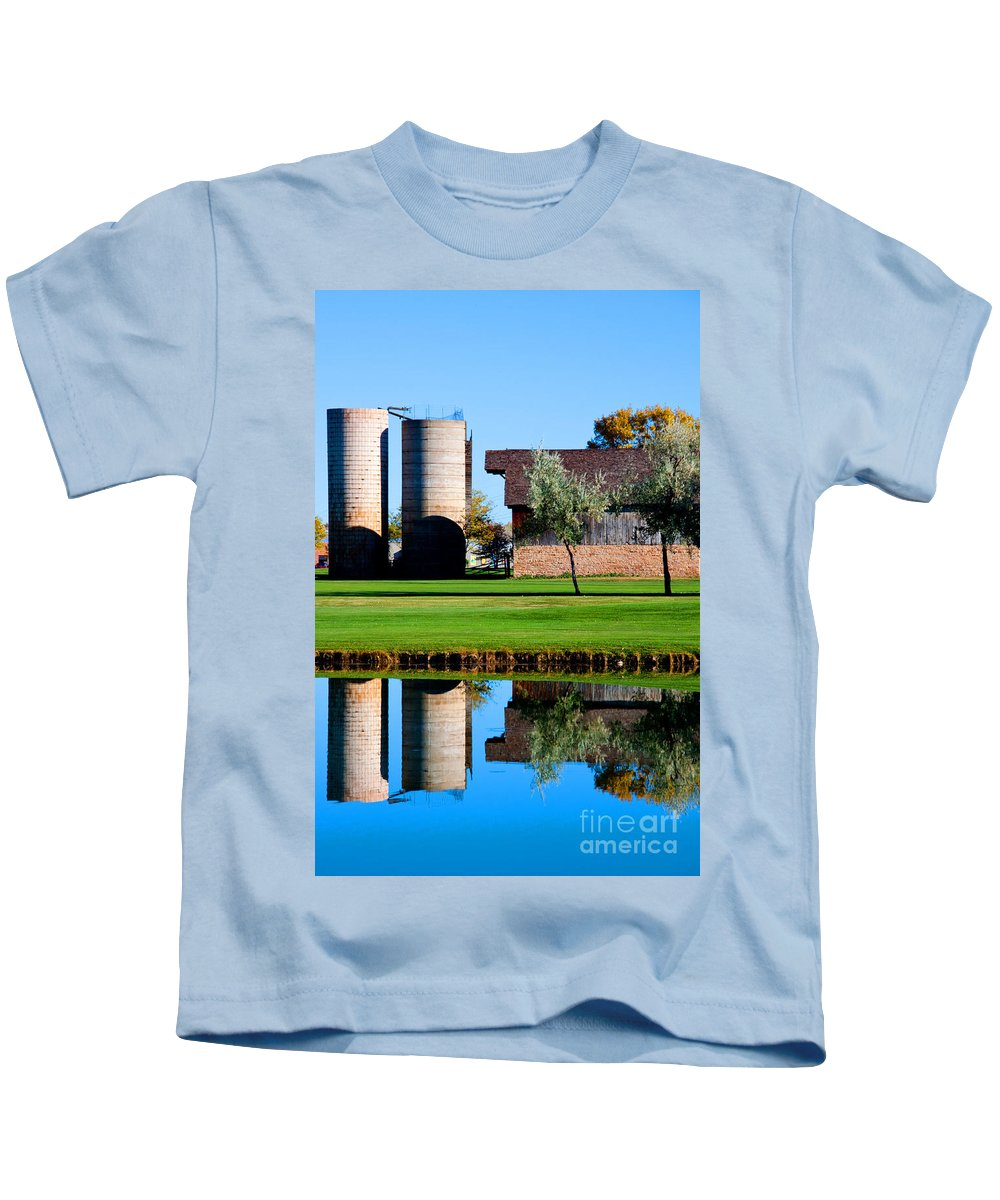 Silo Kids T-Shirt featuring the photograph Silos On The Green by Dana Kern