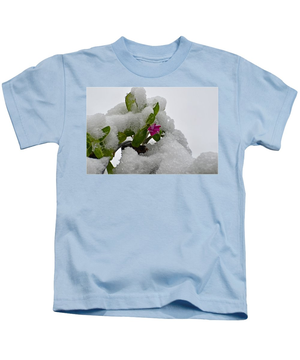 Nature Kids T-Shirt featuring the photograph Snow On The Flowers by Debbie Portwood