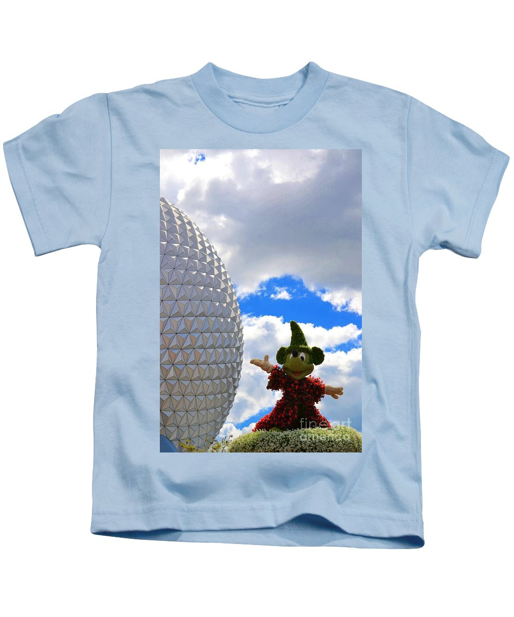 Photo Kids T-Shirt featuring the photograph Sorcerer Mickey by Bonnie Myszka
