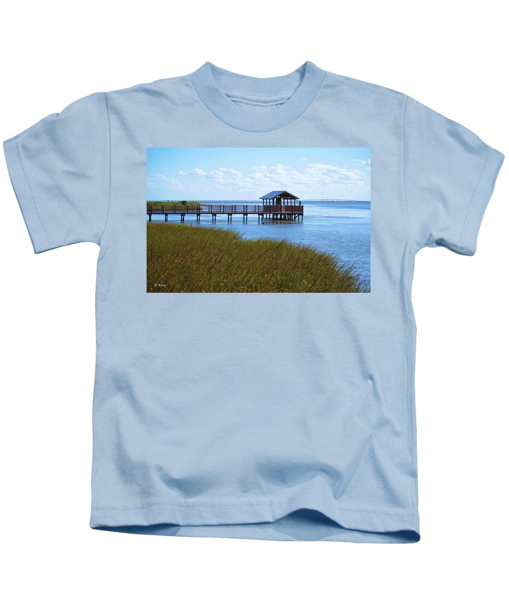 Roena King Kids T-Shirt featuring the photograph Spi Birding Center Boardwalk by Roena King
