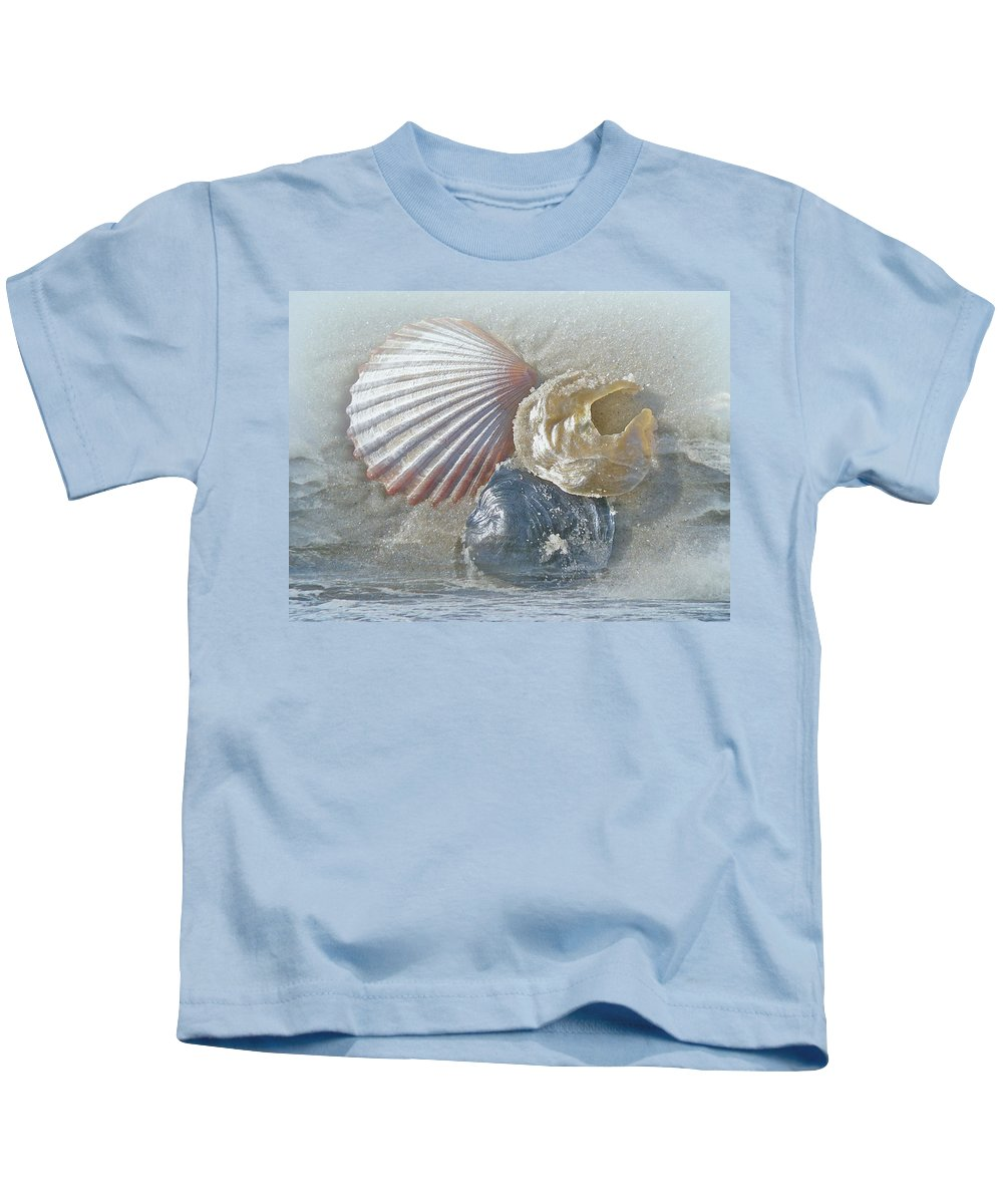 Surf Kids T-Shirt featuring the photograph Spirit Of The Sea - Seashells And Surf by Mother Nature