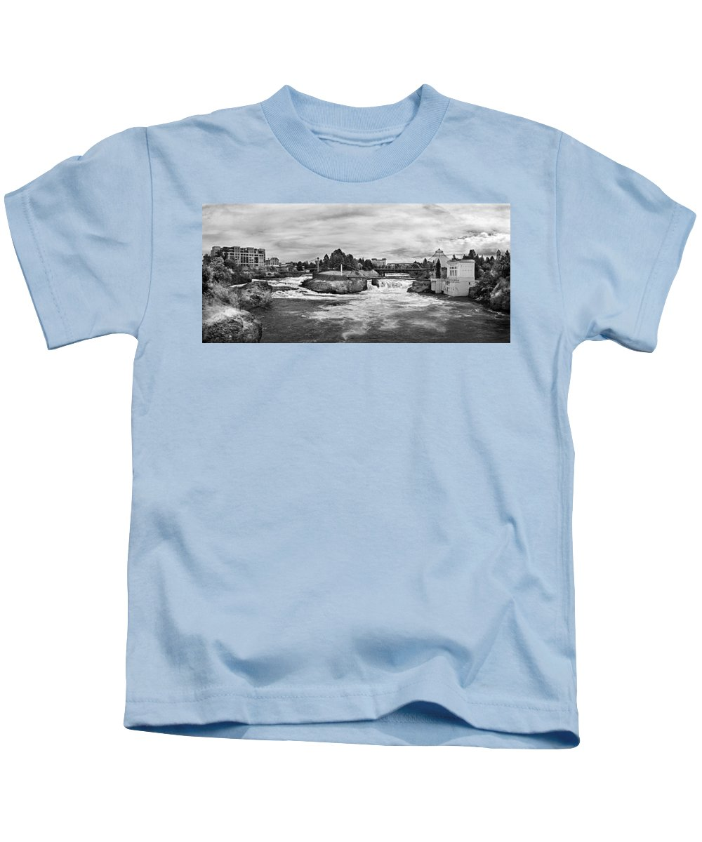 B&w Kids T-Shirt featuring the photograph Spokane Falls From Lincoln Street Bridge In B And W by Lee Santa