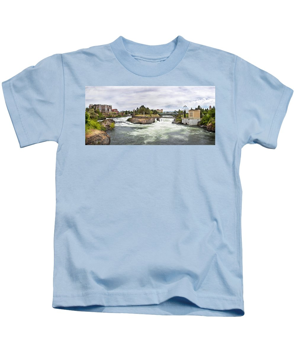 Scenic Kids T-Shirt featuring the photograph Spokane Falls From The Lincoln Street Bridge by Lee Santa