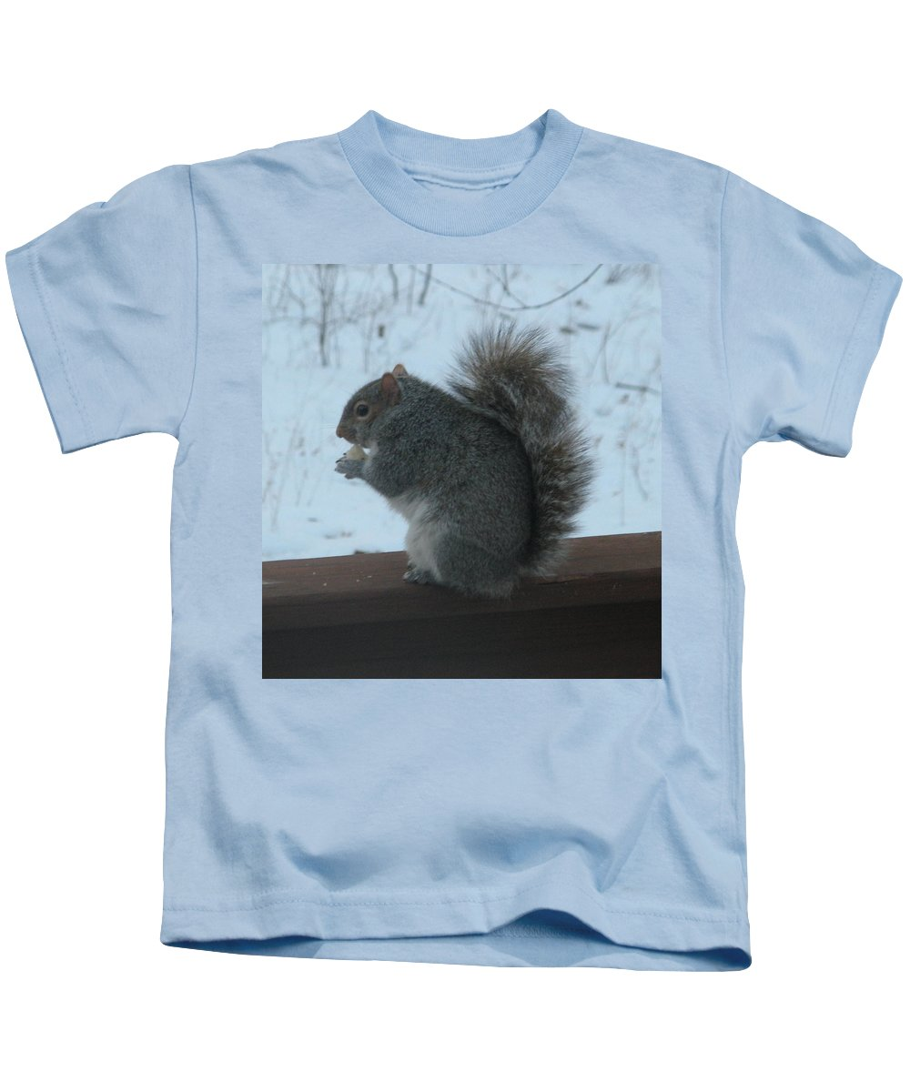 Squirrel Kids T-Shirt featuring the photograph Squirrel Snack by Richard Bryce and Family