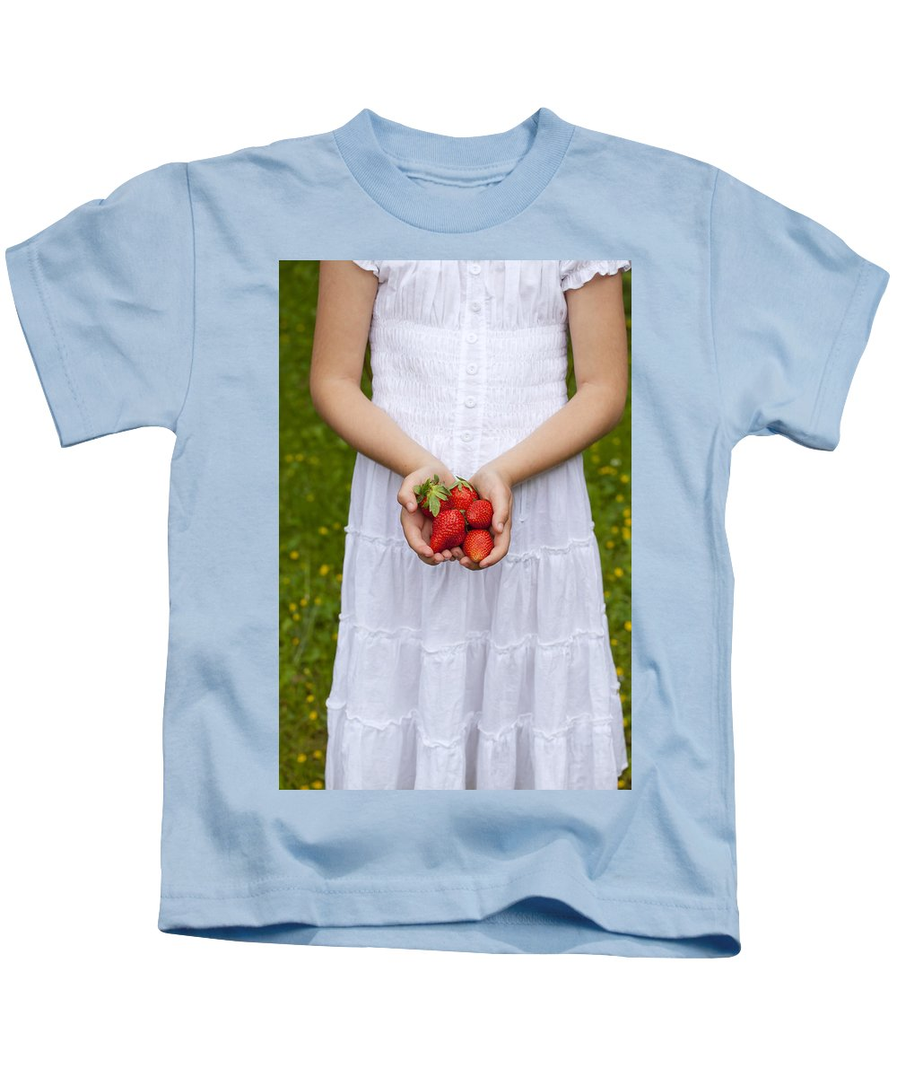 Girl Kids T-Shirt featuring the photograph Strawberries by Joana Kruse