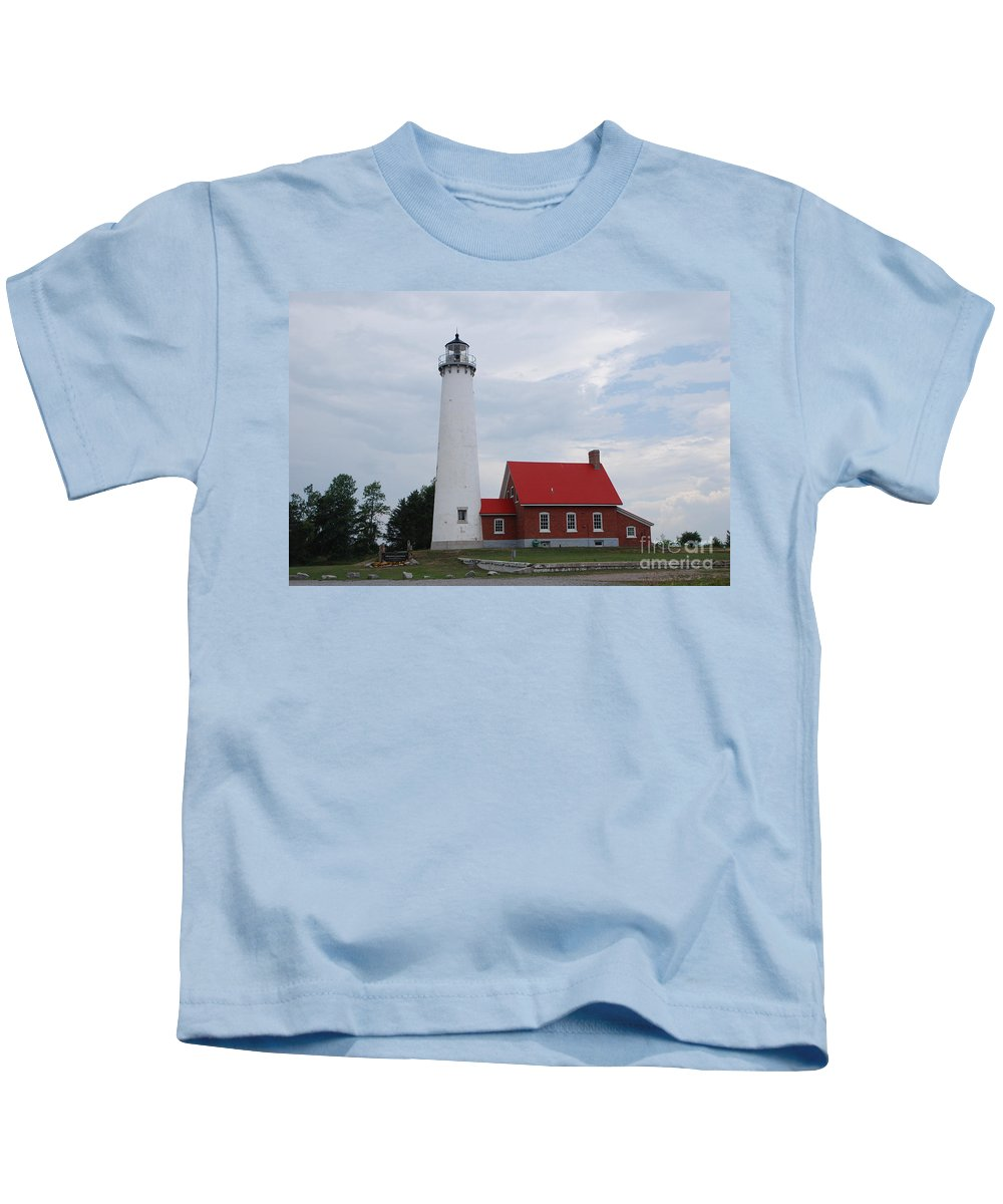 Lighthouse Kids T-Shirt featuring the photograph Tawas Point Lighthouse by Grace Grogan