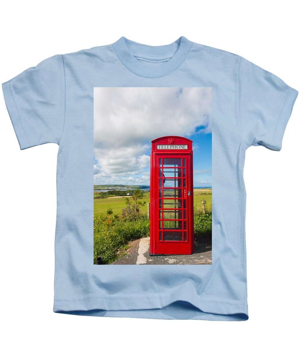 Blue Kids T-Shirt featuring the photograph Telephone Anyone by Semmick Photo