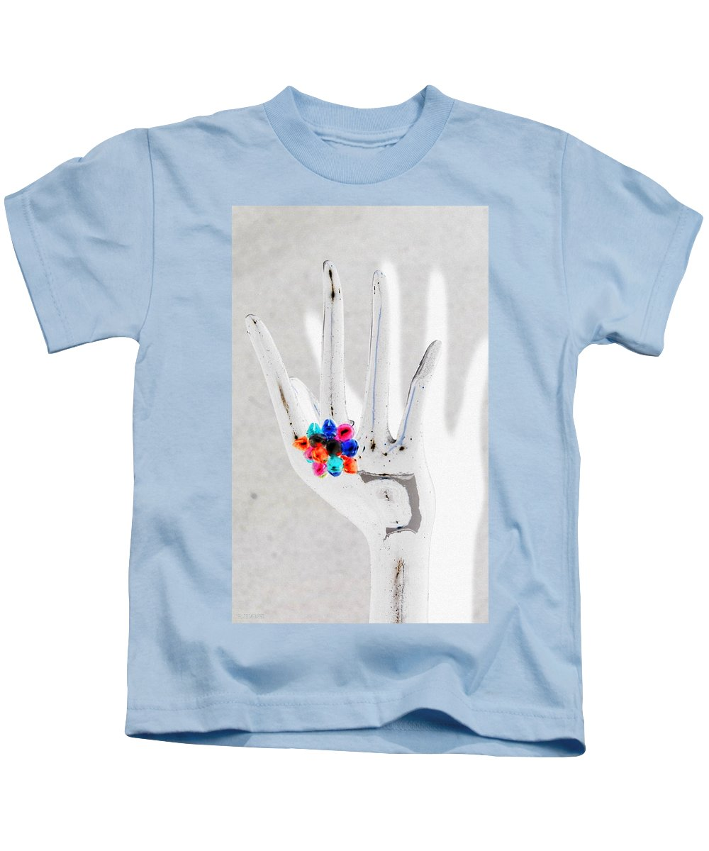 Hand Kids T-Shirt featuring the photograph The Black Hand In Negative by Rob Hans