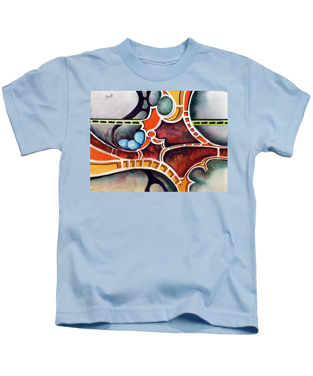 Kids T-Shirt featuring the painting The Gathering by Sam Sidders
