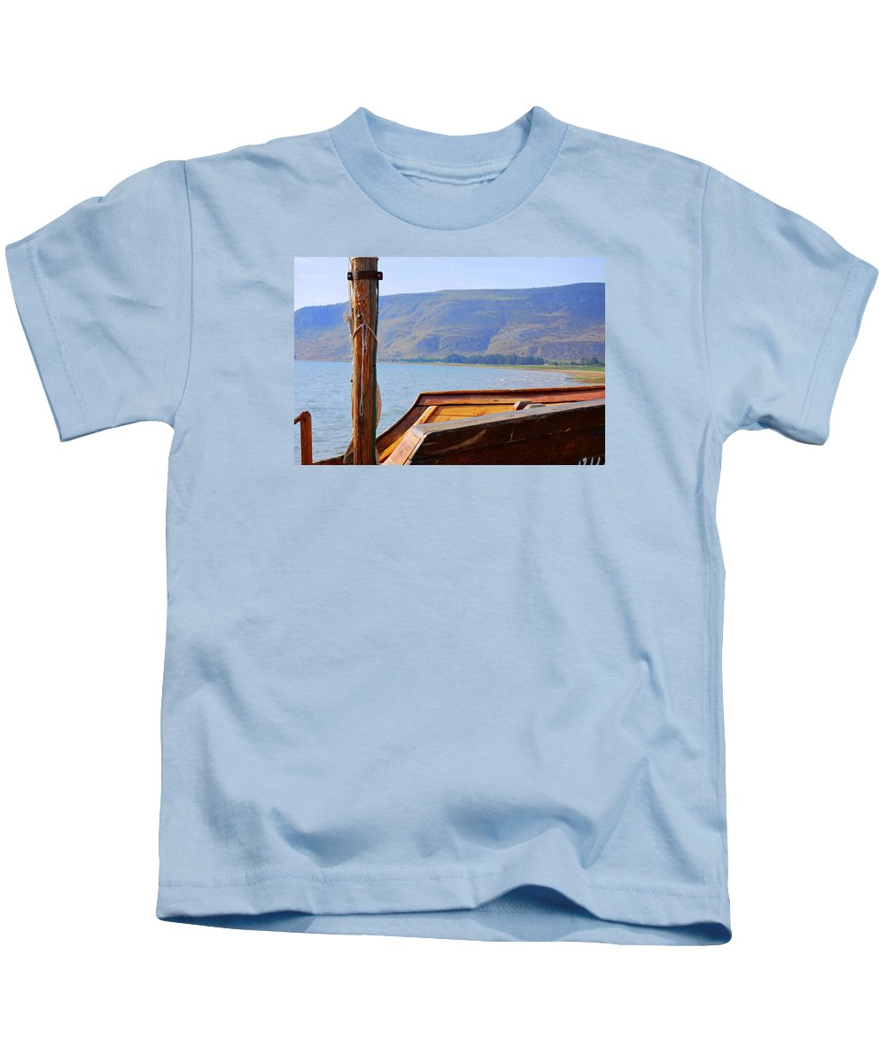 Boat Kids T-Shirt featuring the photograph The Sea Of Galilee by Roy Emmett