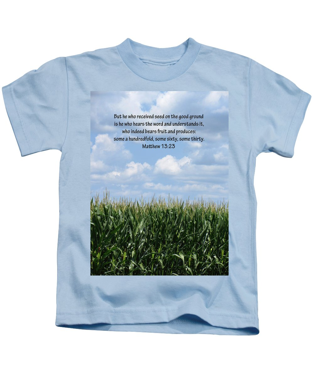 Corn Fields Kids T-Shirt featuring the photograph The Seed In Good Ground by Kathy Clark