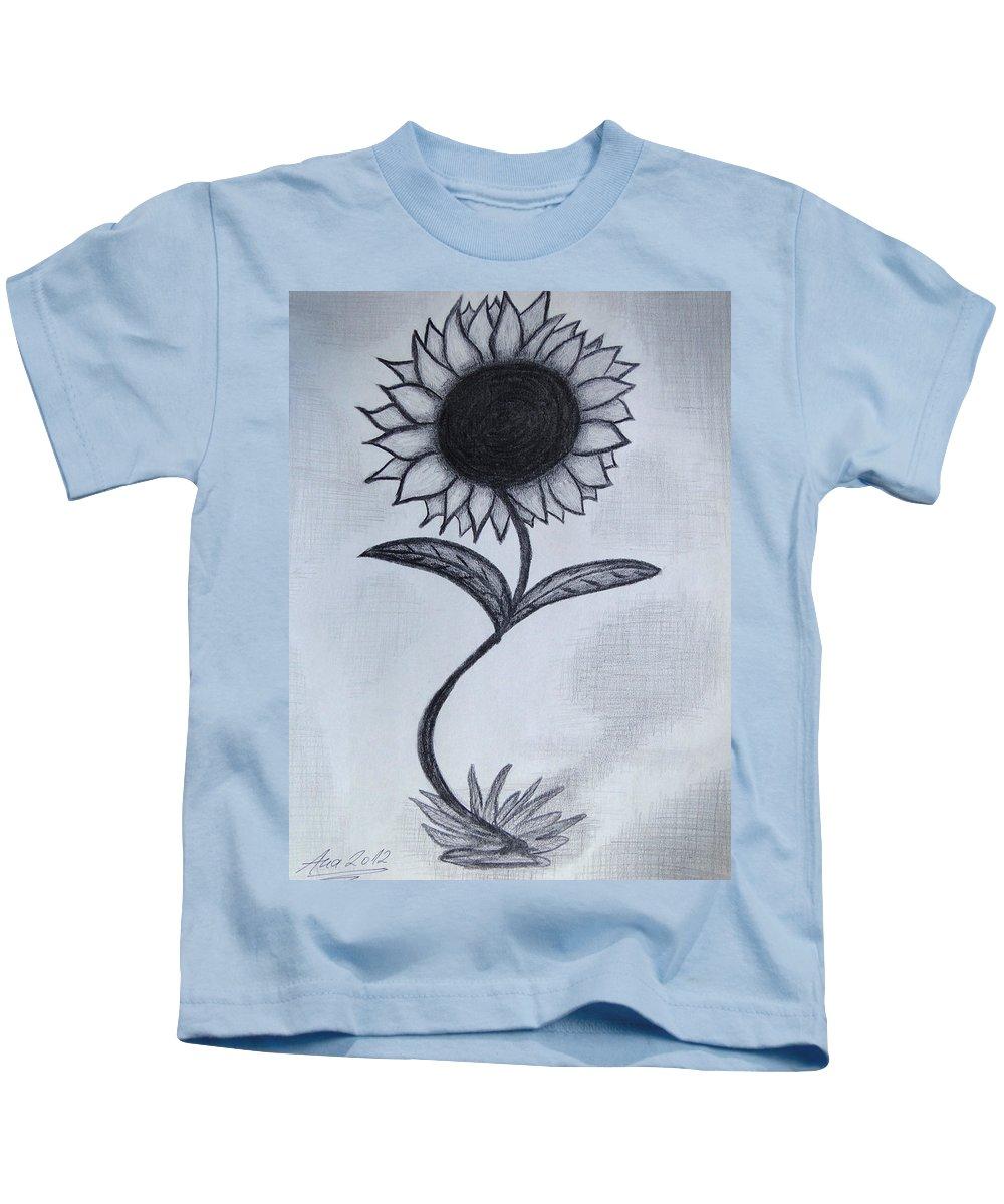 Sunflower Kids T-Shirt featuring the drawing The Sunflower by Ana Leko Nikolic
