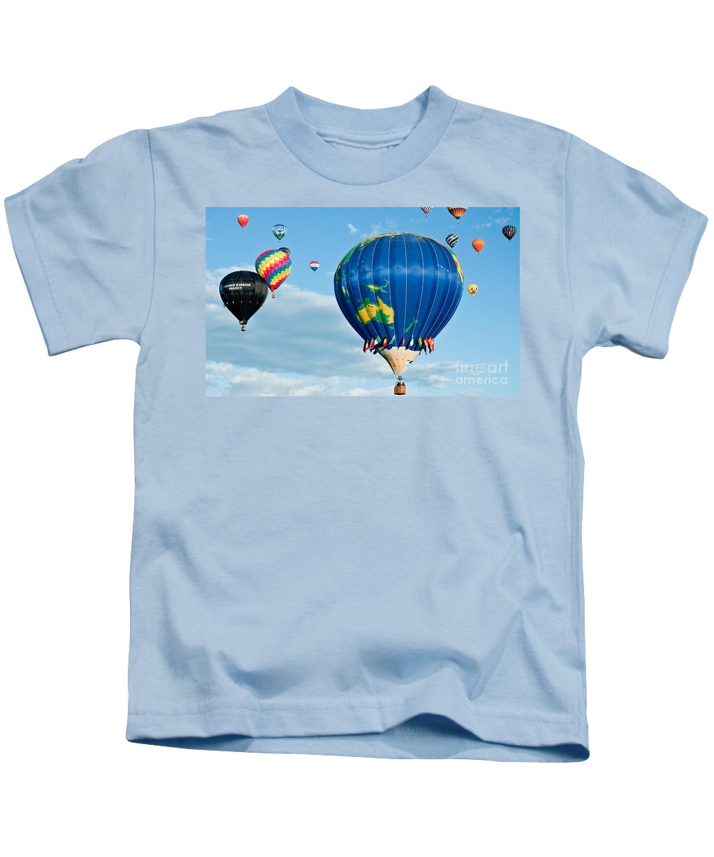 Hot Air Balloons Kids T-Shirt featuring the photograph The World Aloft by Jim Chamberlain