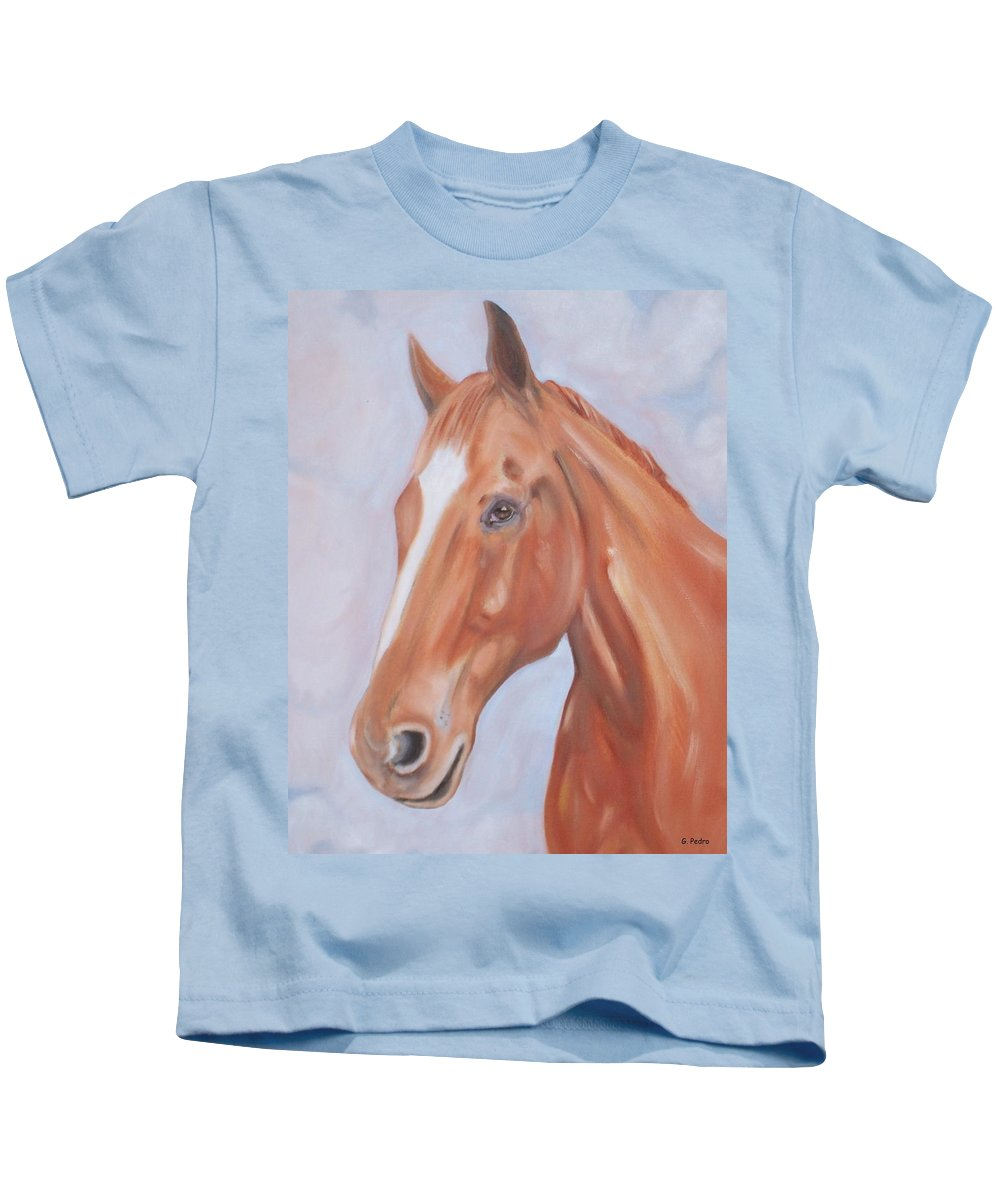 Thoroughbred Kids T-Shirt featuring the painting Thoroughbred by George Pedro