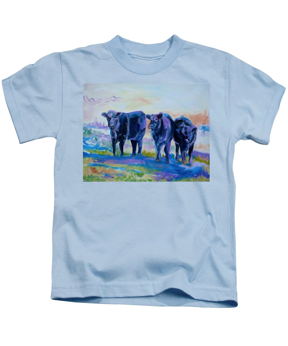 Donna Tuten Kids T-Shirt featuring the painting Three Mooges by Donna Tuten