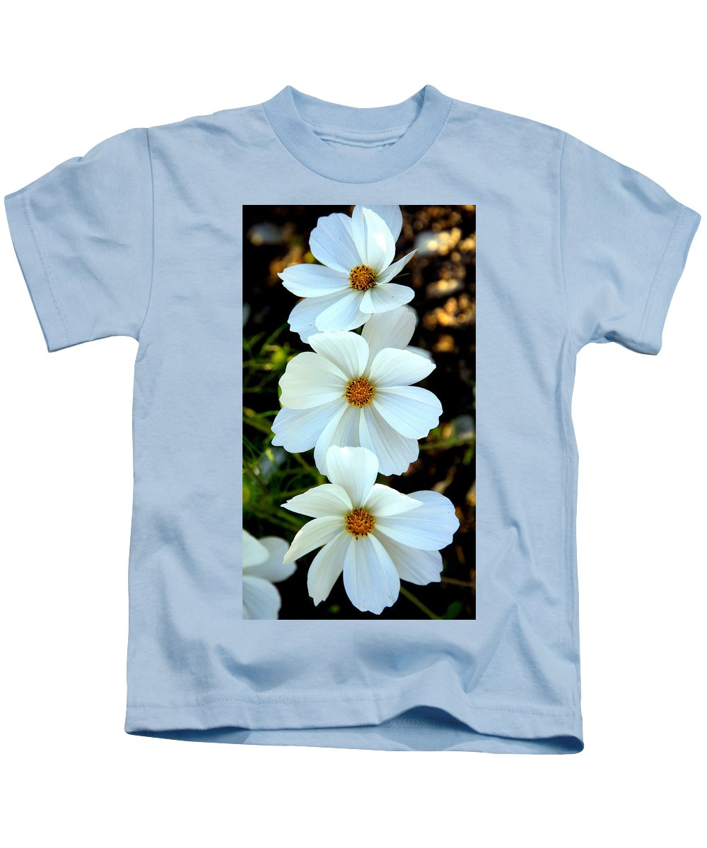 Flowers Kids T-Shirt featuring the photograph Three White Flowers by Steve McKinzie