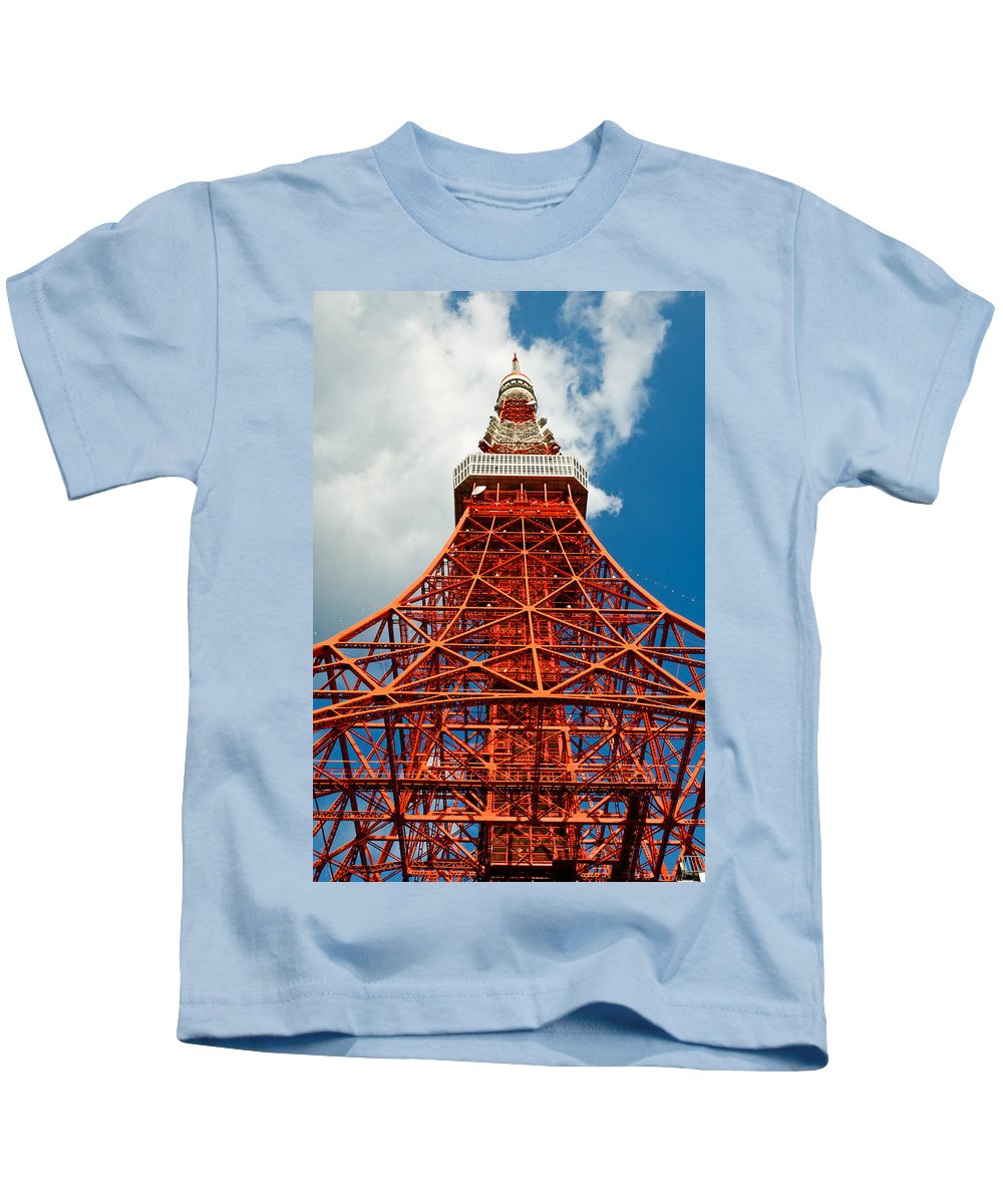Architecture Kids T-Shirt featuring the photograph Tokyo Tower Face Cloudy Sky by U Schade