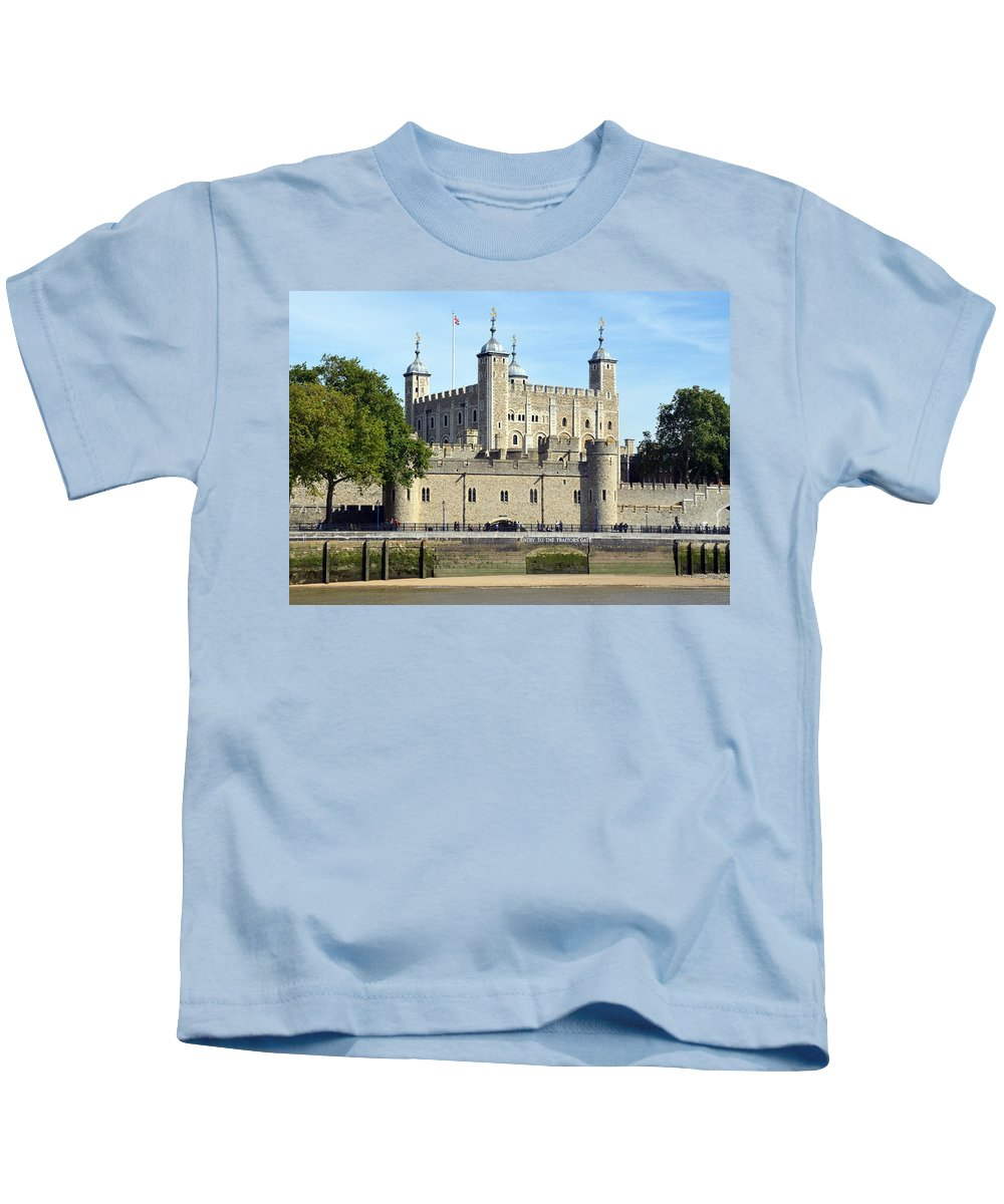 Tower Kids T-Shirt featuring the photograph Tower And Traitors Gate by Carla Parris