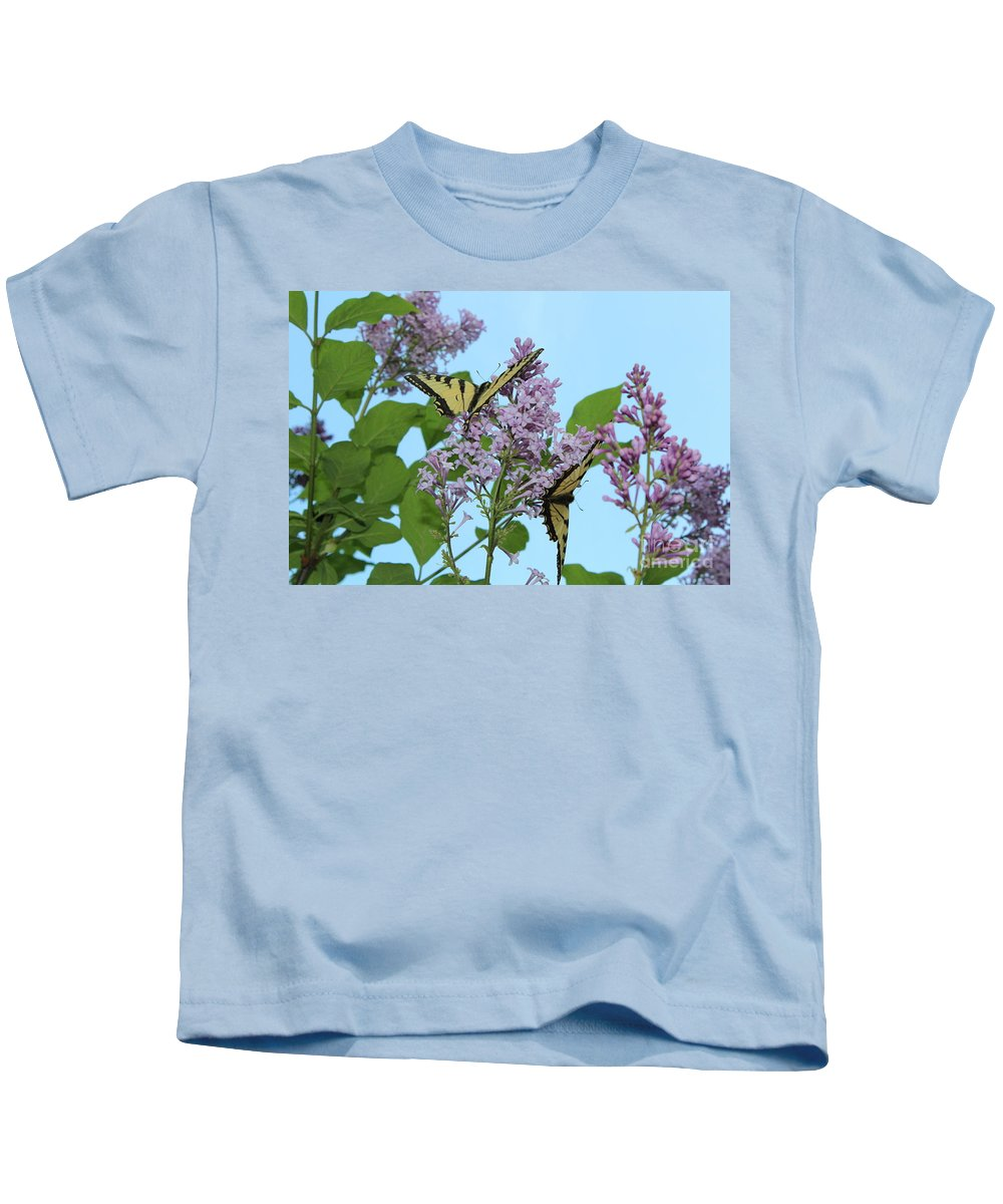 Swallowtails Kids T-Shirt featuring the photograph Two Swallowtails by Stephanie Kripa