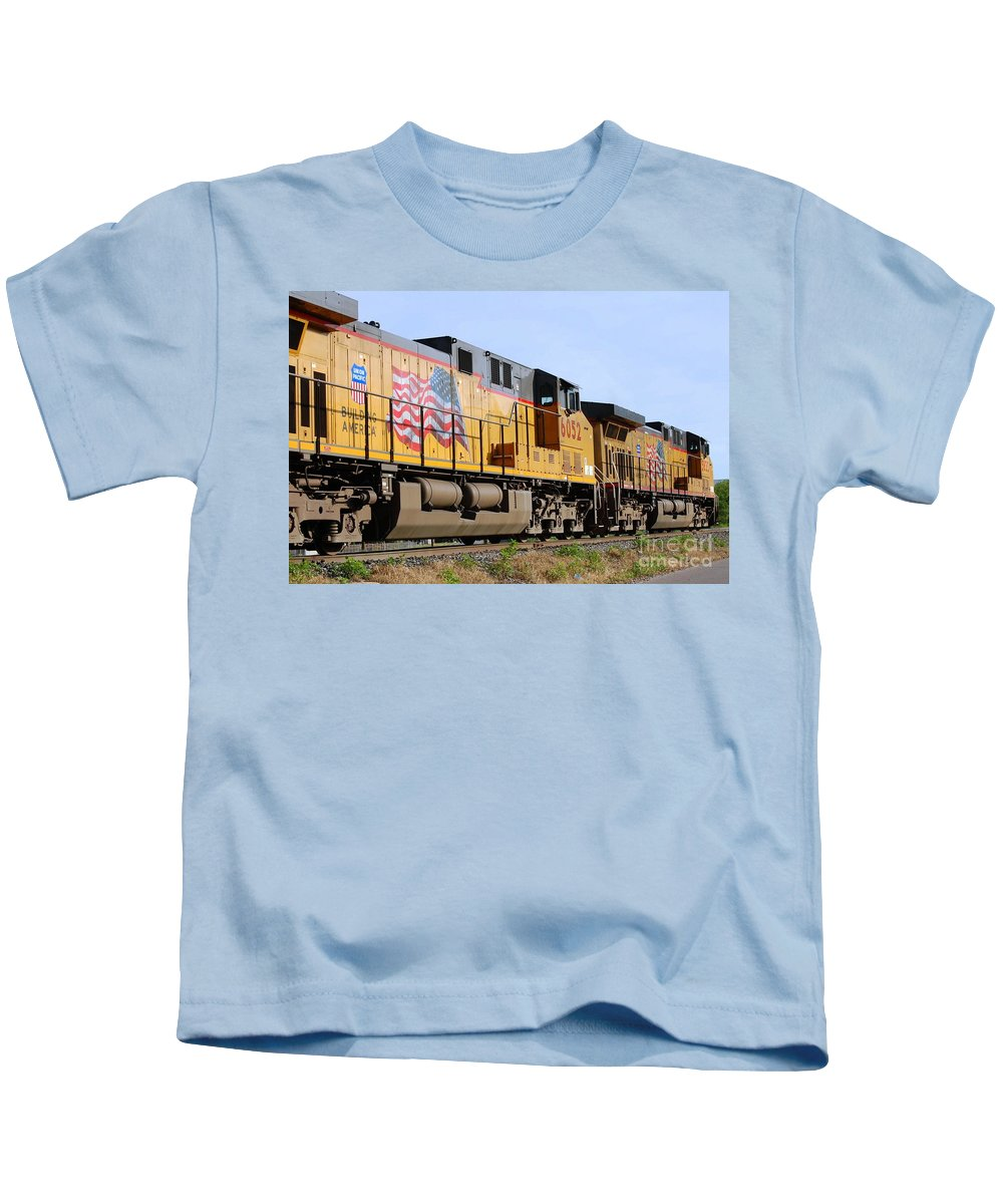 Train Kids T-Shirt featuring the photograph Union Pacific Train by Anjanette Douglas