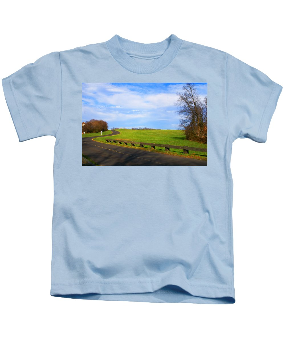 Landscape Kids T-Shirt featuring the photograph Uphill Battle by Tom Gari Gallery-Three-Photography