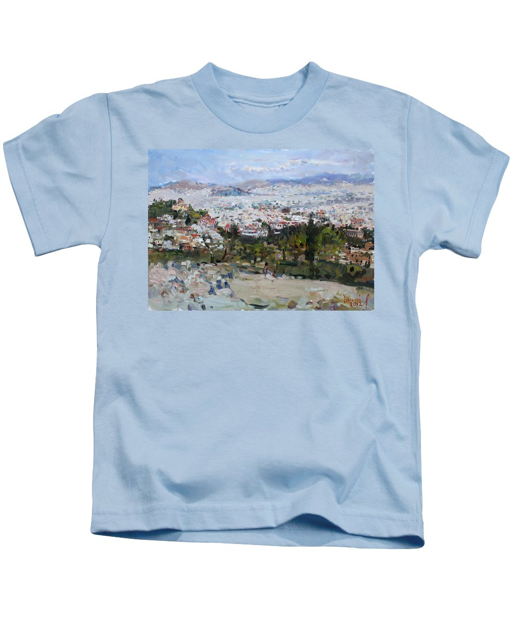 Athens Kids T-Shirt featuring the painting View Of Athens From Acropolis by Ylli Haruni