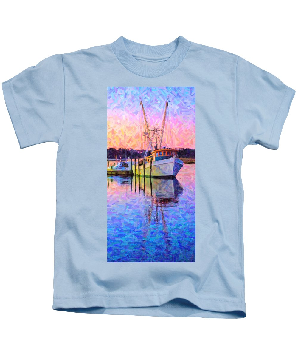 Ship Kids T-Shirt featuring the digital art Waiting In The Harbor by Betsy Knapp