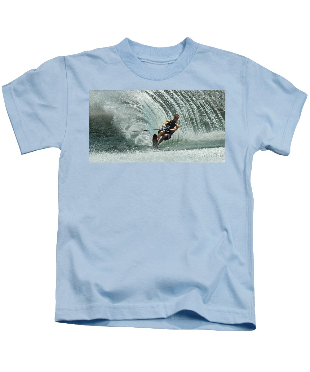 Water Skiing Kids T-Shirt featuring the photograph Water Skiing Magic Of Water 10 by Bob Christopher