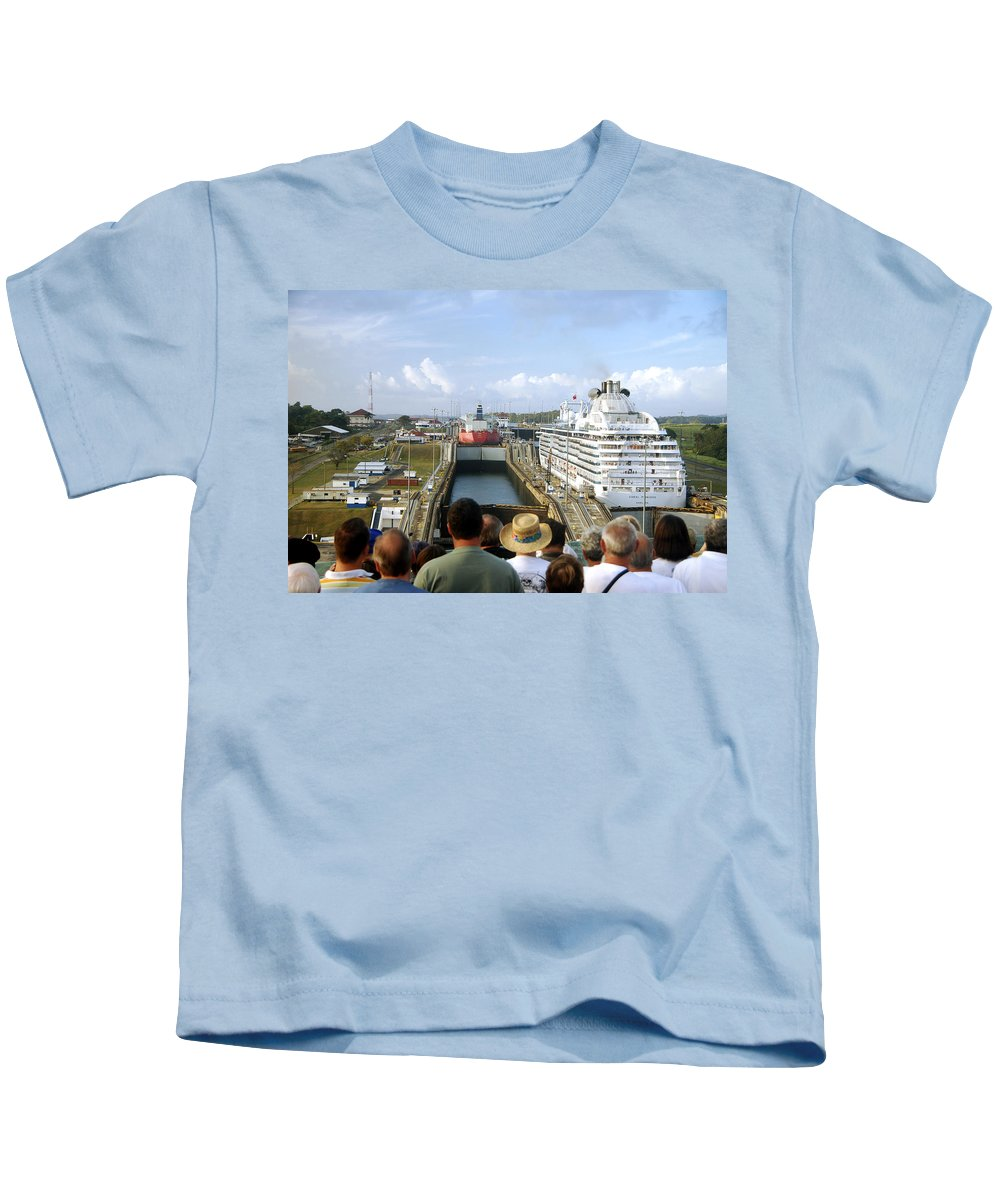 Panama Canal Kids T-Shirt featuring the photograph We're Next by Jon Berghoff