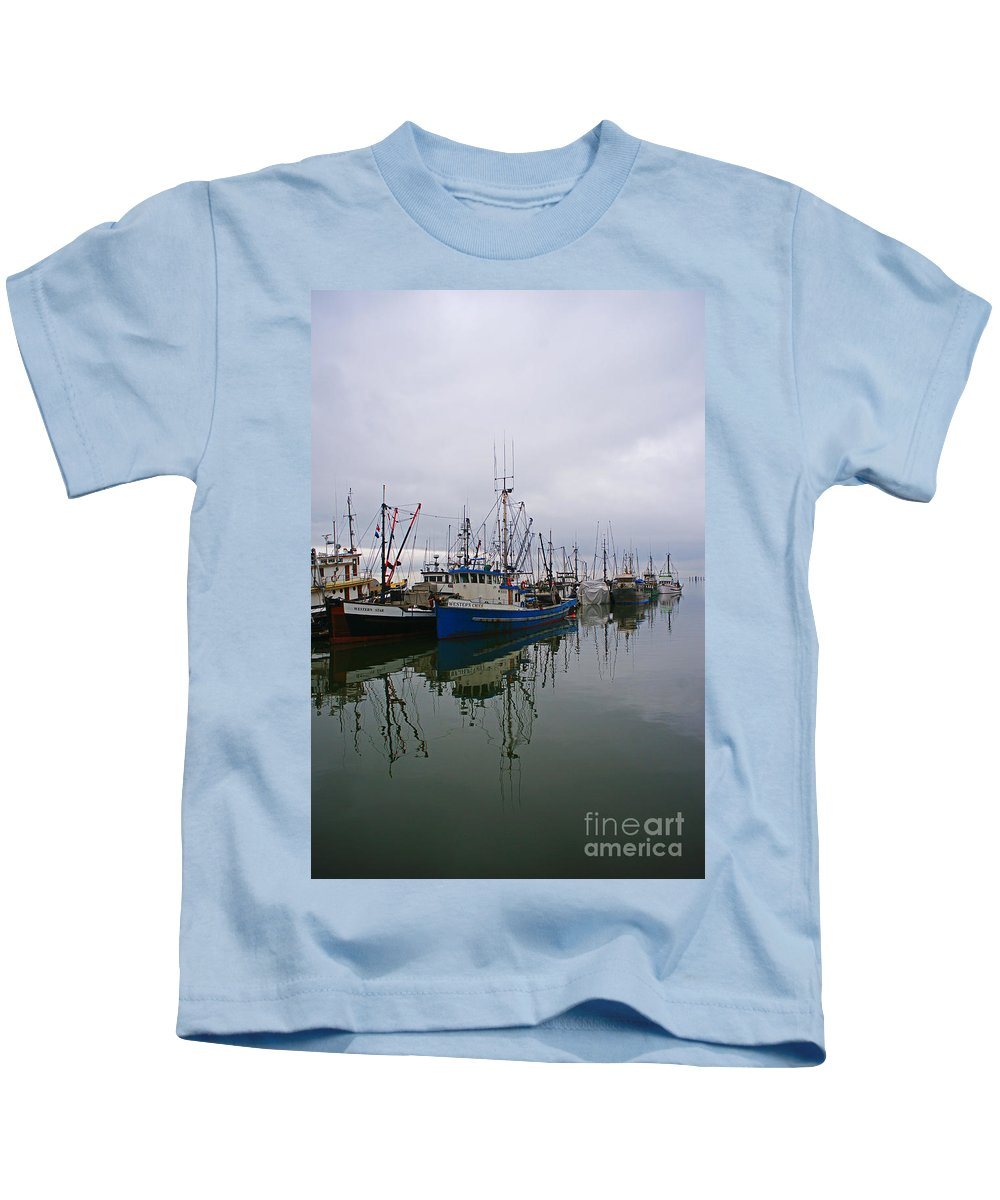 Fishing Boats Kids T-Shirt featuring the photograph Western Chief Reflections by Randy Harris