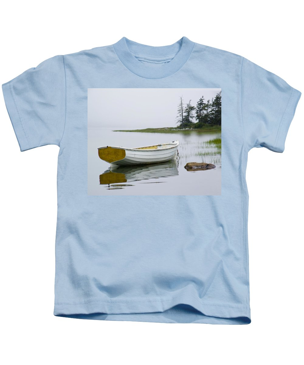 Art Kids T-Shirt featuring the photograph White Boat On A Misty Morning by Randall Nyhof
