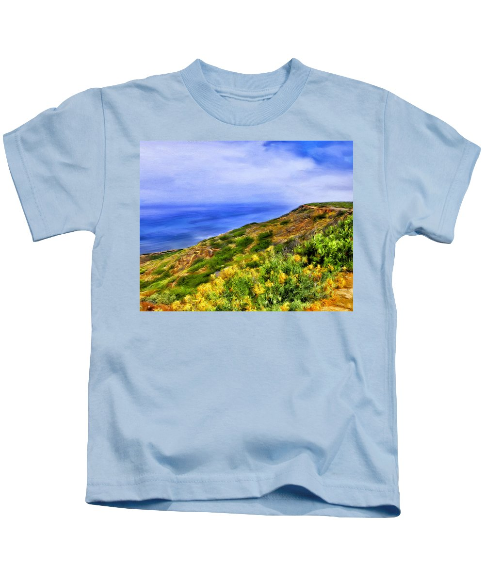 Wildflowers Kids T-Shirt featuring the painting Wildflowers At Point Loma by Dominic Piperata