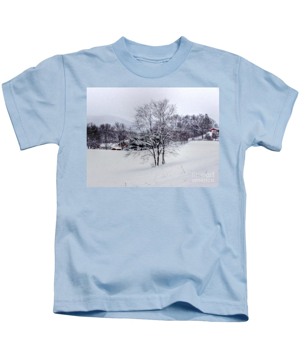 Alone Kids T-Shirt featuring the photograph Winter Landscape 6 by Dan Stone