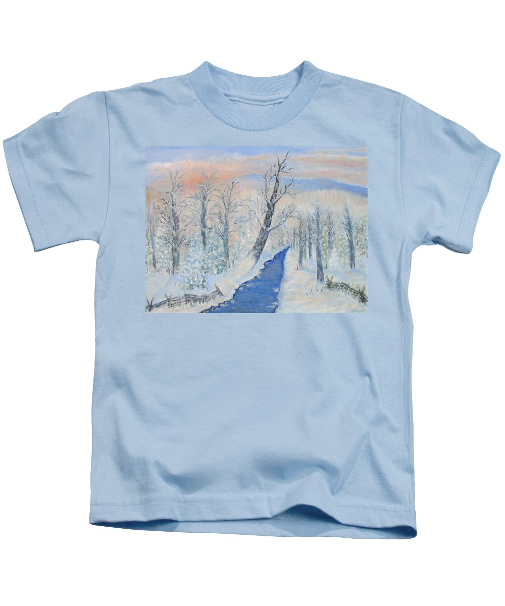 Winter Kids T-Shirt featuring the painting Winter Sunrise by Ben Kiger