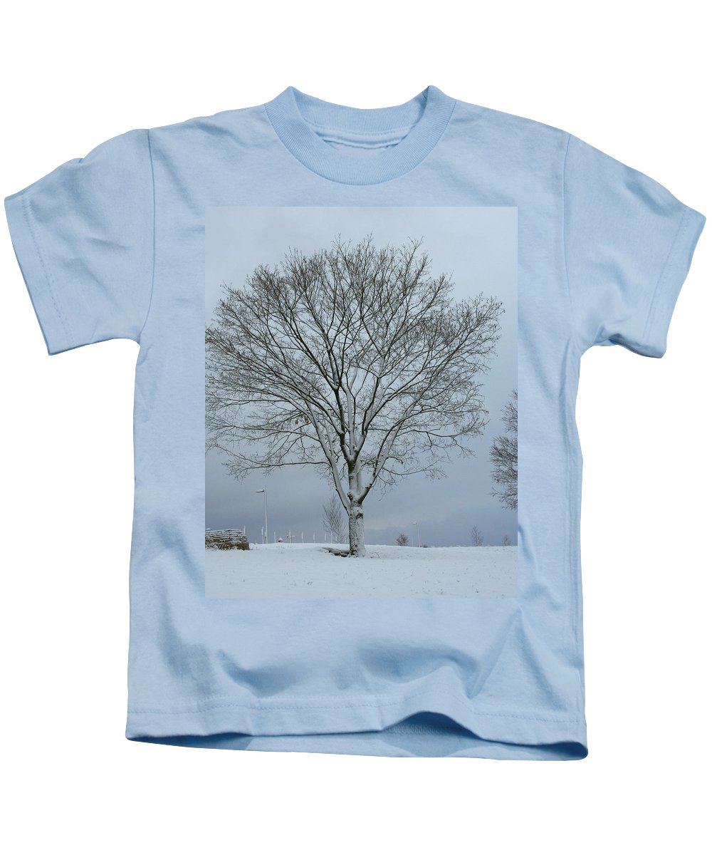 Winter Kids T-Shirt featuring the photograph Winter Tree by Laurel Talabere