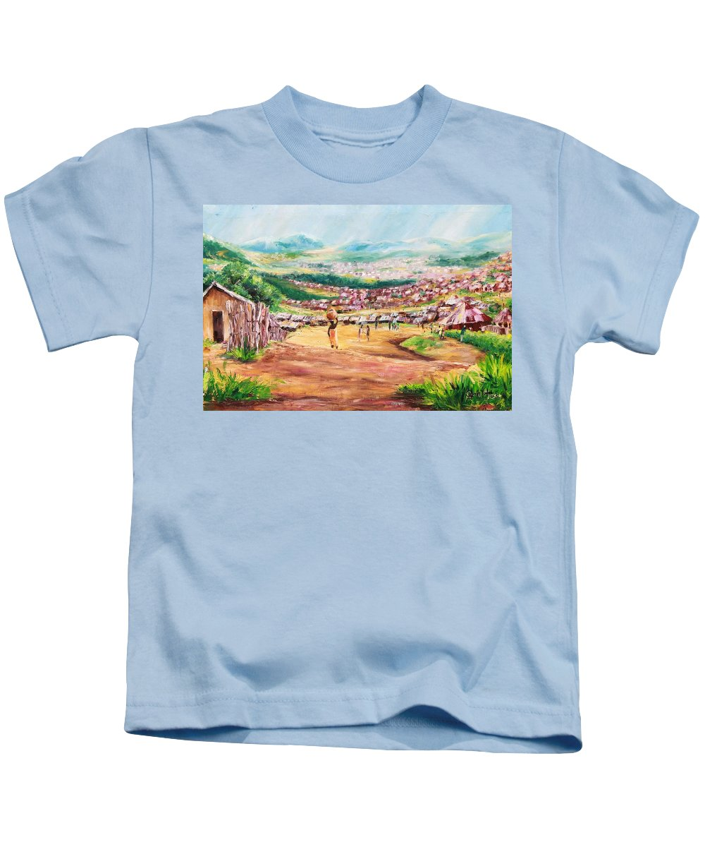 Village Scene Kids T-Shirt featuring the painting Yesteryears by Uly Ogwah