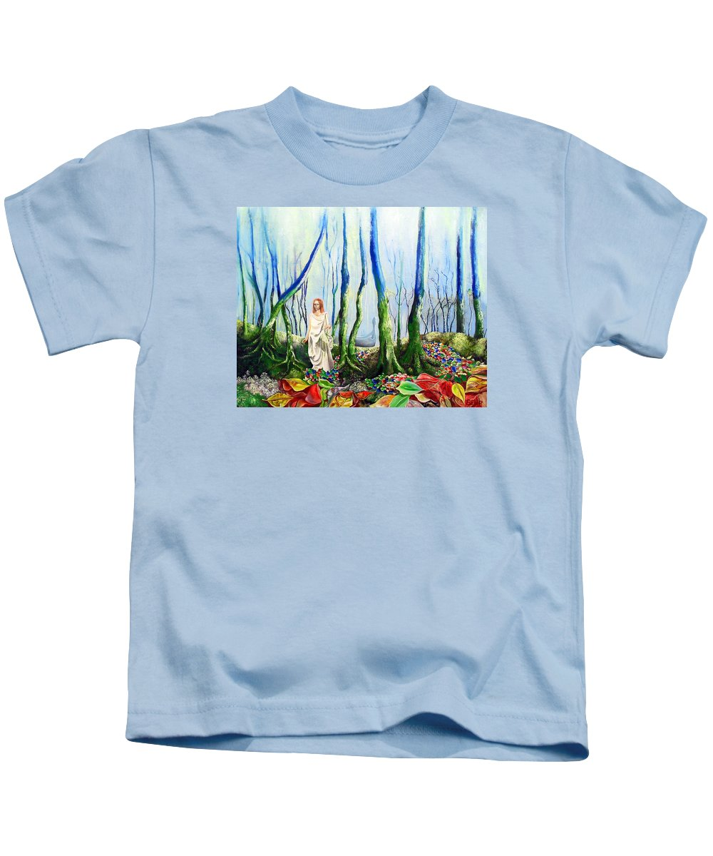 Forest Kids T-Shirt featuring the painting Forest Of Divine Light by Gordon Behr