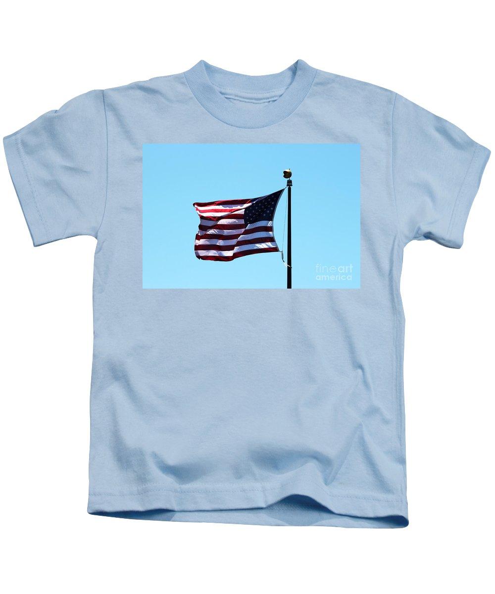 Flag Kids T-Shirt featuring the photograph Usa Flag by Henrik Lehnerer