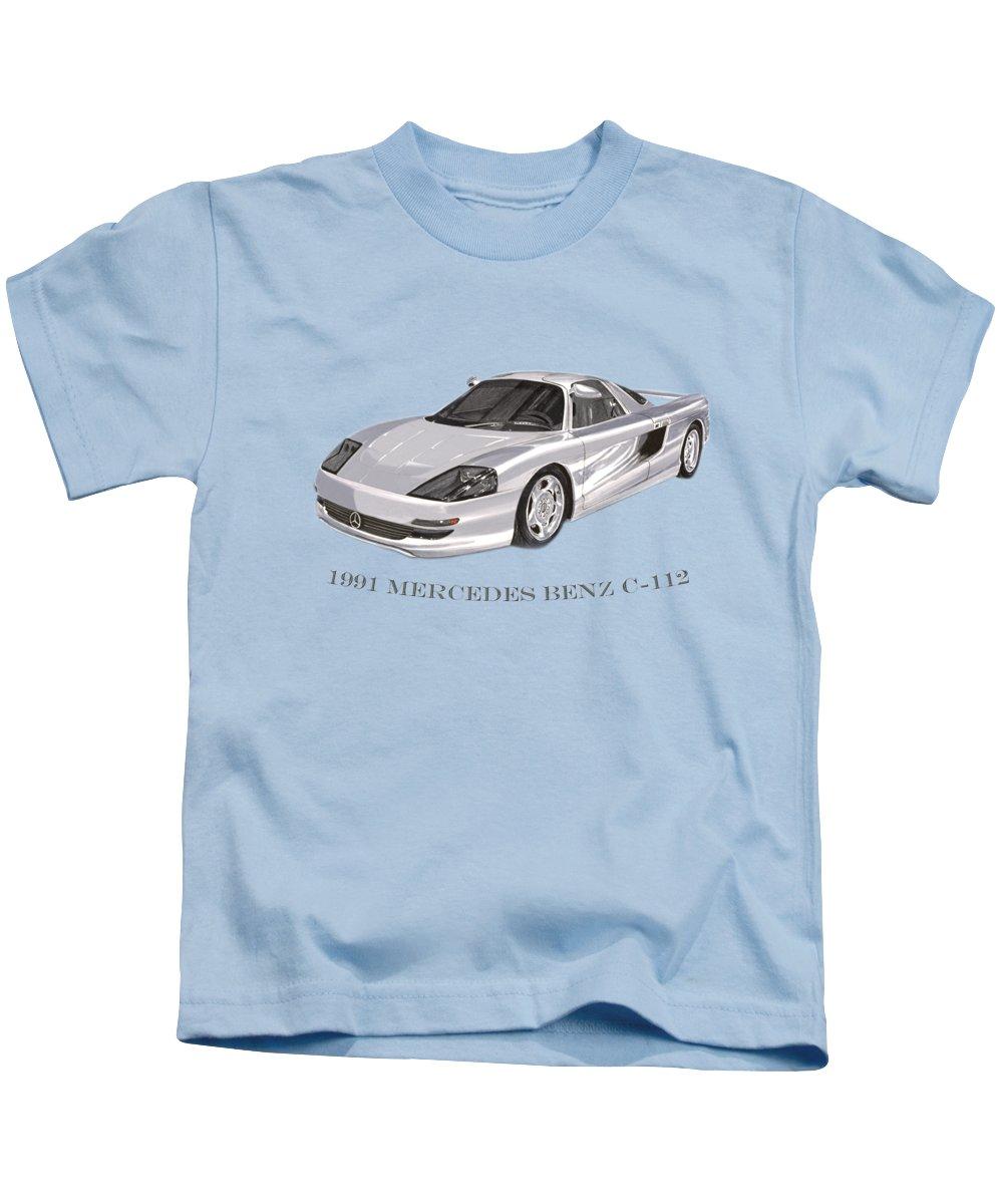 1991 Mercedes Benz C-112 Tee Shirt Art Kids T-Shirt featuring the painting 1991 Mercedes Benz C 112 by Jack Pumphrey