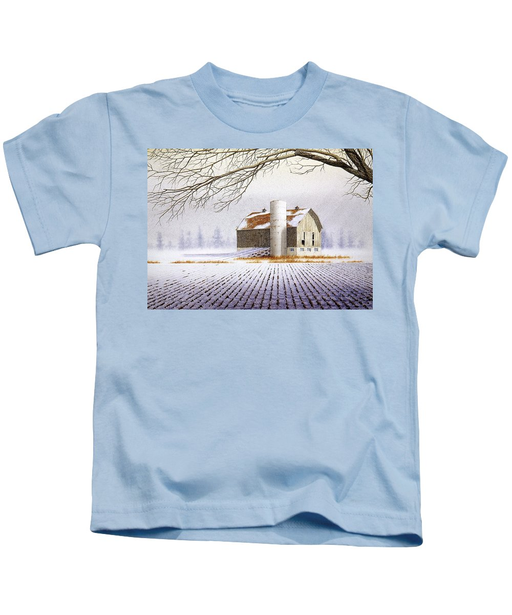 Rural Kids T-Shirt featuring the painting A Far Distant Feeling by Conrad Mieschke