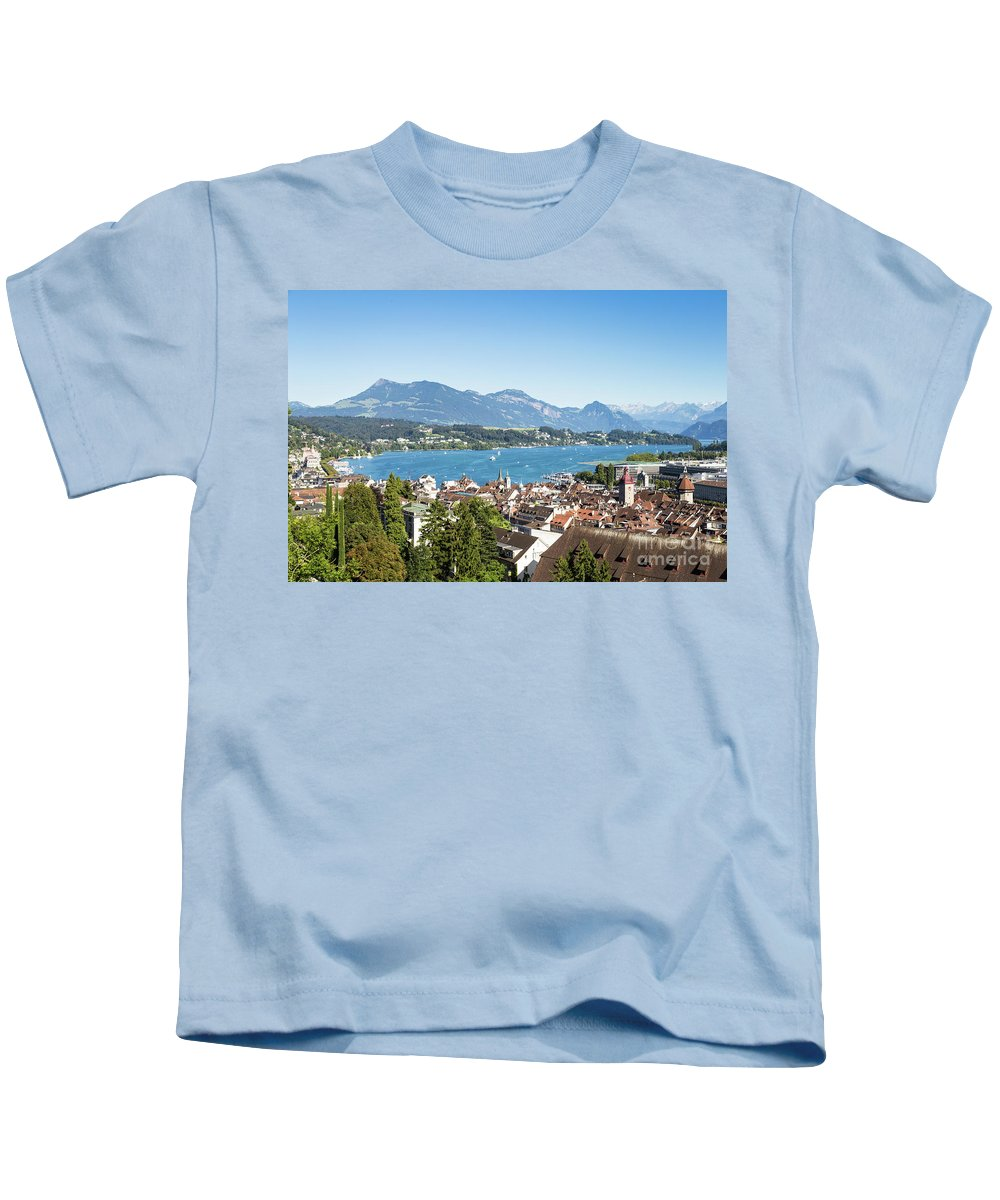Europe Kids T-Shirt featuring the photograph Aerial View Of Lucerne In Switzerland. by Didier Marti