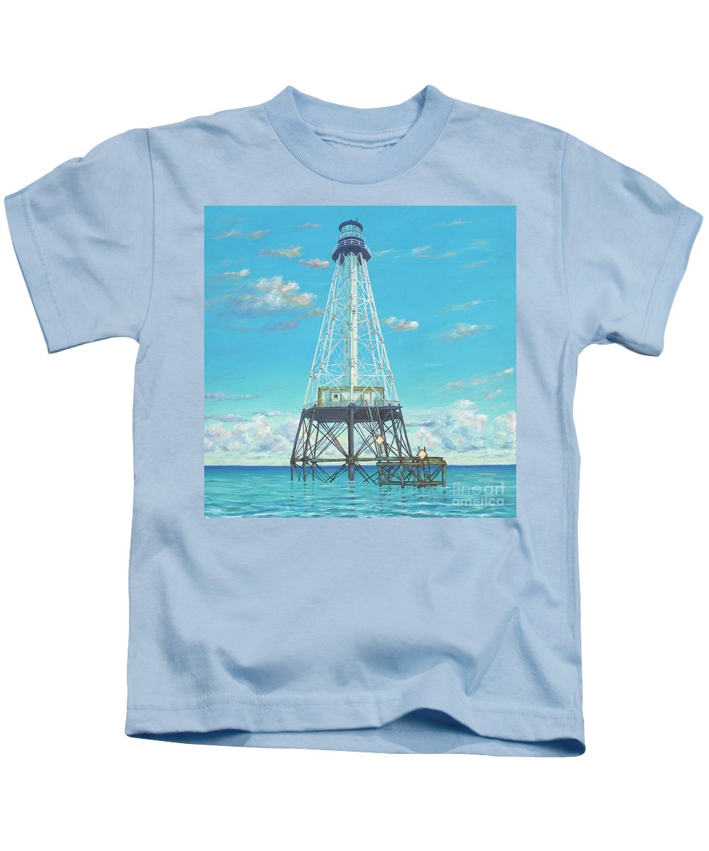 Lighthouse Kids T-Shirt featuring the painting Alligator Reef Lighthouse by Danielle Perry