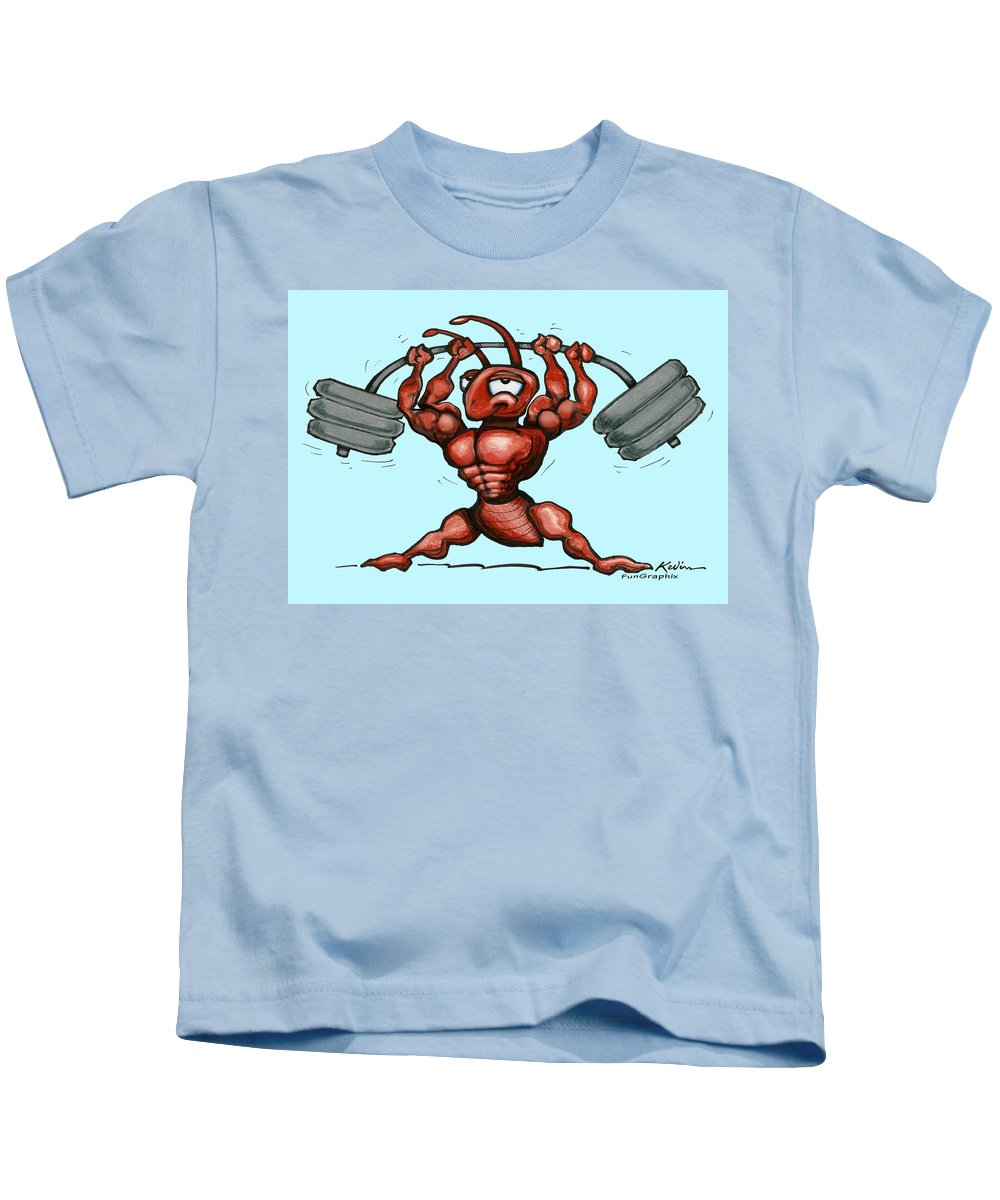 Gym Kids T-Shirt featuring the greeting card Ant by Kevin Middleton