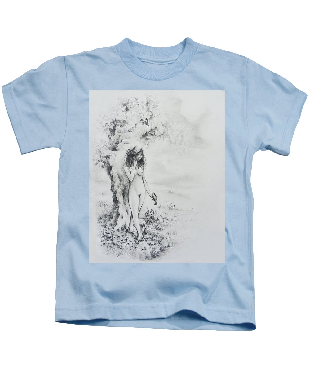 Figure Kids T-Shirt featuring the drawing At The Waters Edge by Rachel Christine Nowicki